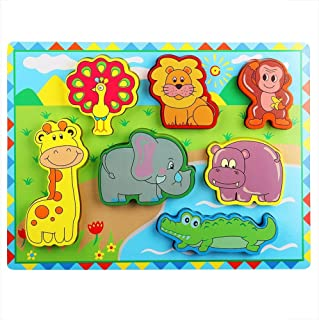 Lewo Wooden Wild Animals Chunky Puzzle for Toddlers Preschool Learning Educational Toys 7 Pcs (Forest Animal)