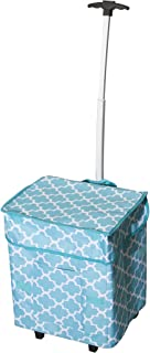 Smart Cart, Moroccan Tile Rolling Multipurpose Collapsible Basket Cart Scrapbooking