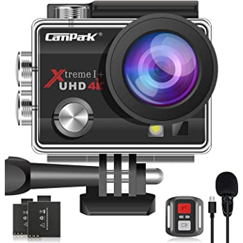 【2020 Upgrade】Campark 4K 20MP Action Camera EIS External Microphone Remote Control WiFi Waterproof Camera with 170° Wide Angle and 2 Batteries
