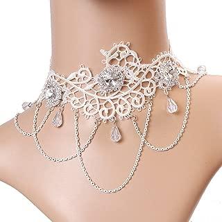 SUNSHINE LU Jewelry White Lace Necklace Retro Beautiful Princess Lolita Bride Diamond Wedding Accessories