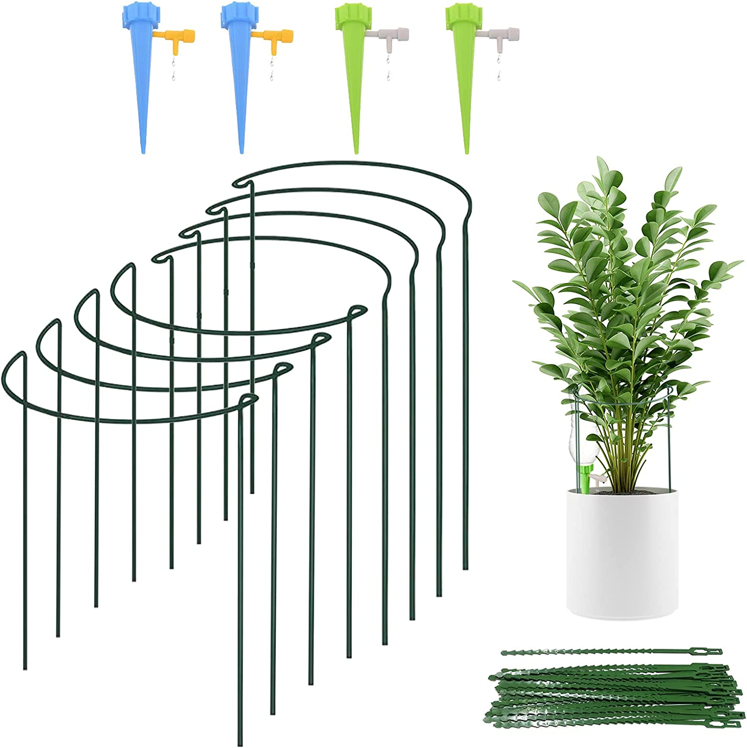 8 Packs sale Plant Support Stake Metal Max 85% OFF Garden Half Green Round