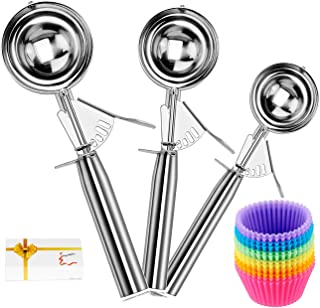 Cookie Scoop Set of 3, Ice Cream Scoop Set Trigger, Premium 18/8 Stainless Steel Muffin Scoops, Heavy Duty Handle Ice Cream Scoopers Melon Ballers with Pack of 12 Reusable Silicone Baking Cups