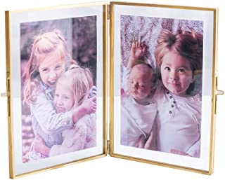 """Levilan Double Picture Frames Gold Double Pictures Frame with Pressed Glass Photo Frame, Brass (4"""" x 6"""")"""