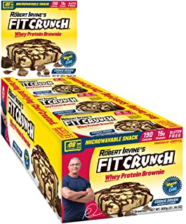 FITCRUNCH Protein Brownies, Designed by Robert Irvine, High Protein Snack, 190 Calories, 15g of Protein, Soft Brownie Texture, Gluten Free & Microwaveable (12 Brownies, Cookie Dough)