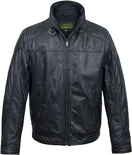 HIDEPARK Mac: Men's Blue Leather Jacket