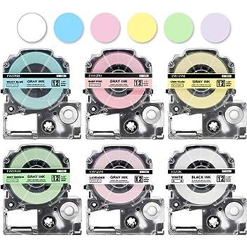互換 テプラ ソフトラベル テープ カートリッジ 12mm キングジム Tepra pro ベビーピンク ミルキーブルー ミントグリーン ラベンダーレ モンイエロー 白地 SR-GL1 SR-GL2 6色セット