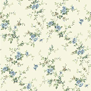 York Wallcoverings BA4519 Casabella II Floral Trail Wallpaper, Buttermilk/Pale Blue/Deep Sky Blue/Ecru/White/Various Green Hues