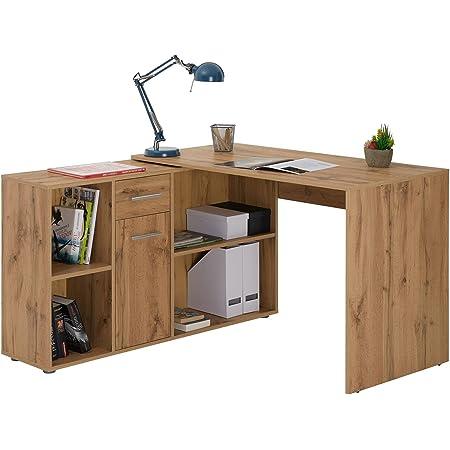 IDIMEX Bureau d'angle Carmen Table avec Meuble de Rangement intégré et modulable avec 4 étagères 1 Porte et 1 tiroir, décor chêne Sauvage