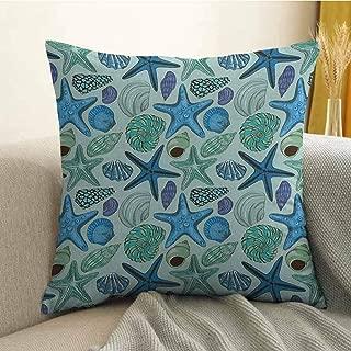 FreeKite Starfish Printed Custom Pillowcase Aquarium Inspired Composition Tropical Seashells and Scallops Cockles and Clams Decorative Sofa Hug Pillowcase W18 x L18 Inch Multicolor
