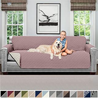 Sofa Shield Original Patent Pending Reversible X-Large Oversized Sofa Protector for Seat Width up to 78 Inch, Furniture Slipcover, 2 Inch Strap, Couch Slip Cover Throw for Dogs, Sofa, Dusty Rose Linen