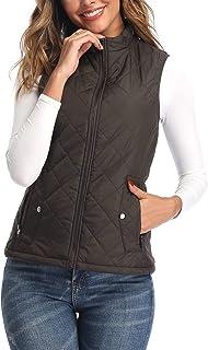 Argstar Women's Vest, Lightweight Qiulted Zip Pockets Padded Gilet