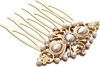 Rosemarie Collections Women's Bridal Headpiece Faux Pearl and Glass Crystal Hair Comb