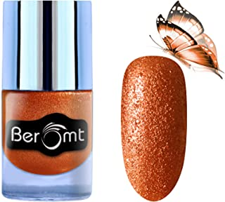 Beromt Sand Glitter Nail Polish | Nail Art Effect | Party Girl nail Paint | Home & Professional Use, Orange, 606, 10ml