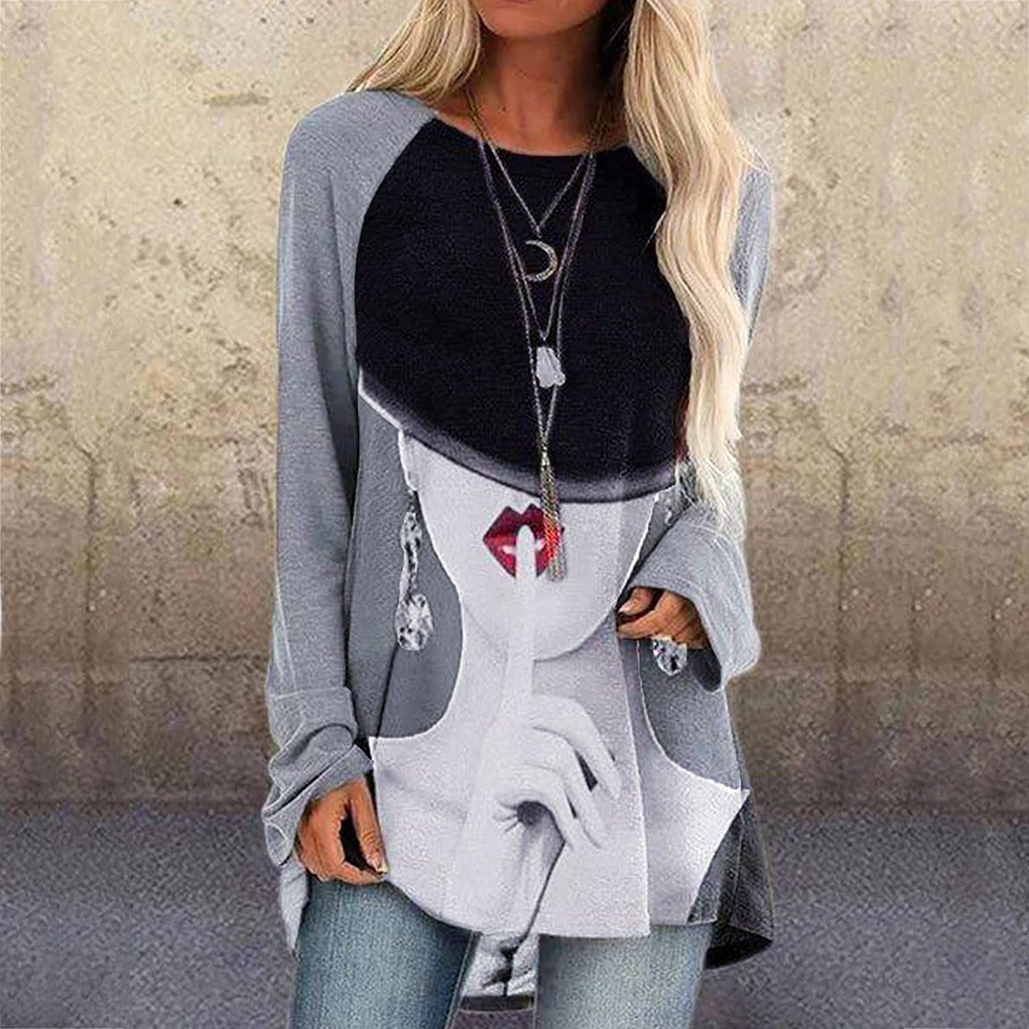 VEKDONE T-Shirts for Women Casual Long Sleeved Long Tees Tops Vintage Oil Painting Printing Tunic Round Neck Blouse