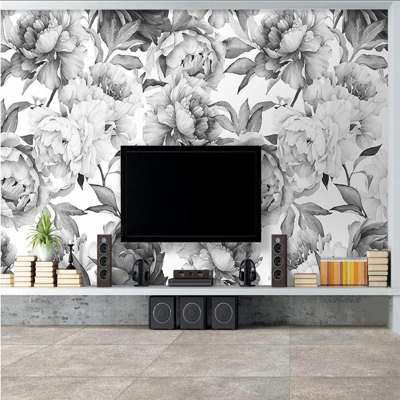 Hay más marcas de productos de alta calidad. Lifme Papel Papel Papel Tapiz Personalizado Mural 3D Peonía Parojo blancoa Y Negra Pintura Sala De Estar Tv Fondo Decoración De La Parojo Papel De Parojo De Estilo Europeo 3 D-200X140Cm  nueva gama alta exclusiva
