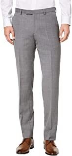 Men's Wool Trousers Modern Fit Solid Flat Front Dress Pants by Hugo