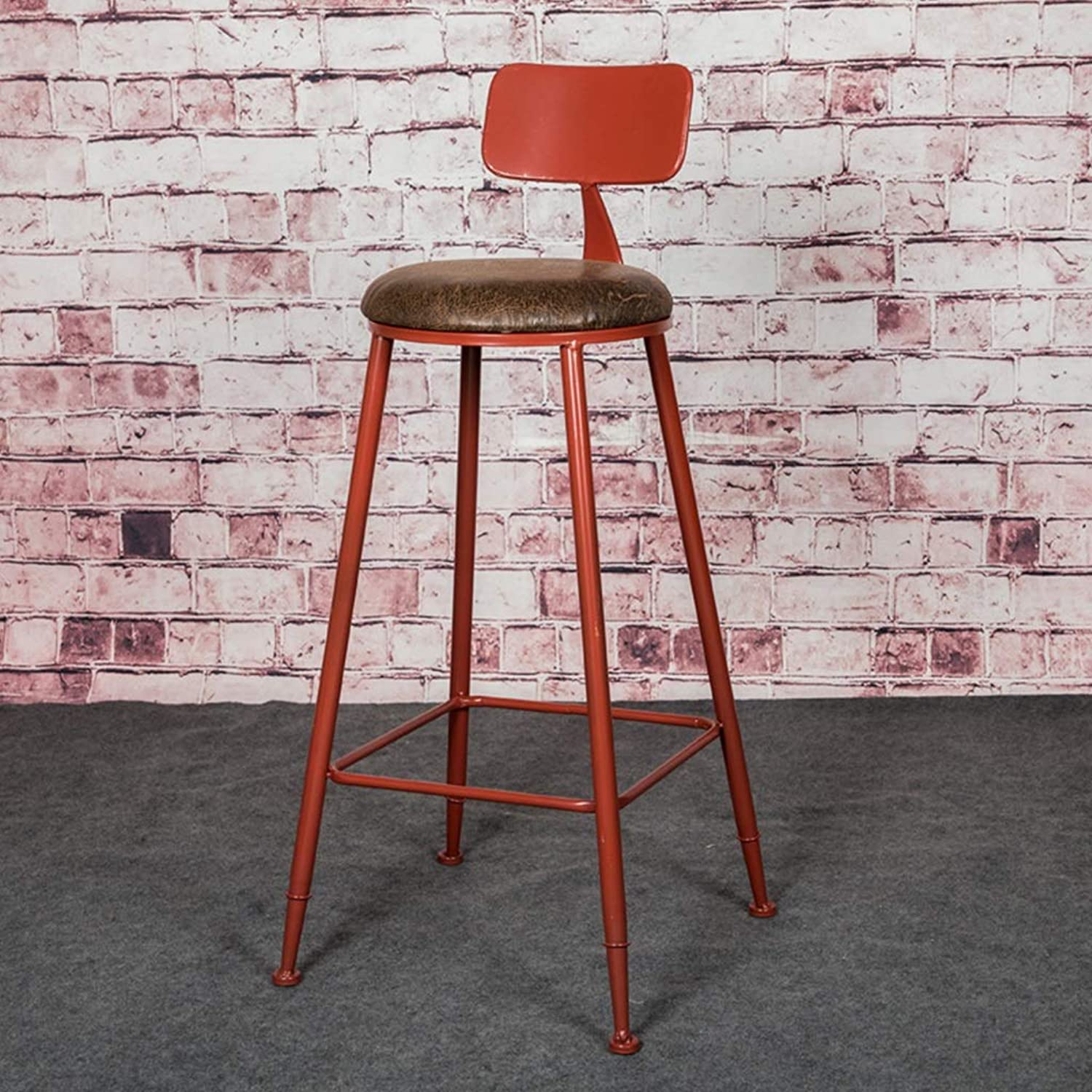 Retro Iron Art Bar Chair High Leg Stool Industrial Style Kitchen Household Seat Backrest Design Sturdy Non-Slip 0525A (color   Red)