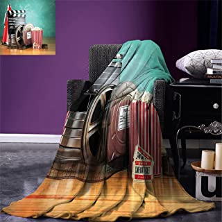Fenlin Movie Theater Throw Blanket Production Theme 3D Film Reels Clapperboard Tickets Popcorn and Megaphone Warm Microfiber All Season Blanket for Bed or Couch Multicolor