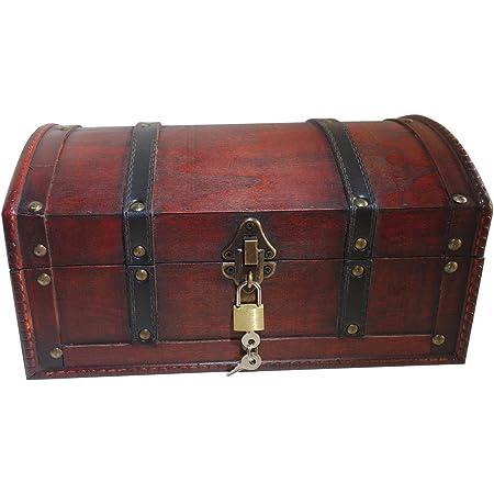 Infinimo coffre au trésor - coffre en bois, boîte pirate, boîte cadeau munie d'un coffre à clé, 30x20x15cm grand coffre au trésor