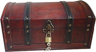 Infinimo coffre au trésor - coffre en bois, boîte pirate, boîte cadeau munie d'un coffre à clé, 30x20x15cm grand coffre au...
