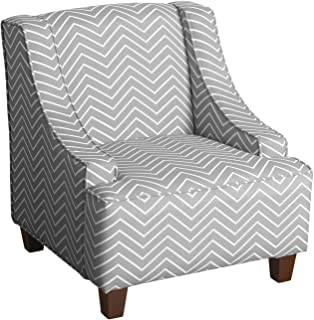 HomePop Youth Upholstered Swoop Arm Accent Chair, Grey and White Chevron