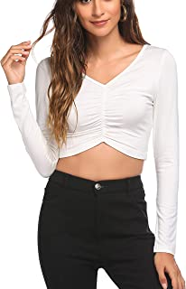 HOTLOOX Women's Long Sleeve Crop Top V Neck Yoga Running Gym Workout Shirts Ruched Activewear Tee S-XXL