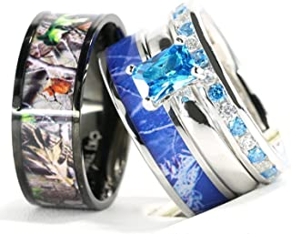 blue camo wedding rings