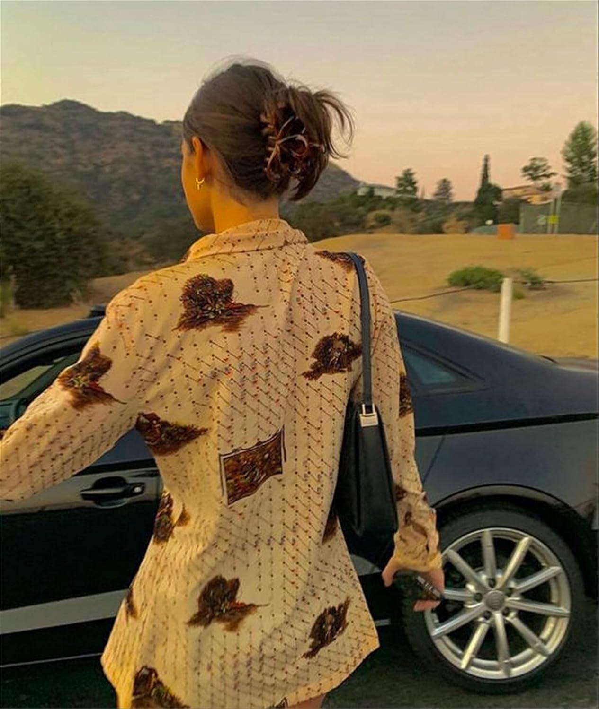Women Long Sleeve Crop Top Shirt Vintage Floral Print Y2K Cardigan Collared Button Down T Shirt Blouse E Girl Streetwear