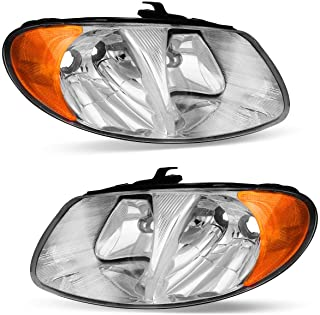 OEDRO Headlight Assemblies Compatible with 2001-2007 Dodge Caravan/Chrysler Town & Country, Chrome Housing, Amber Side