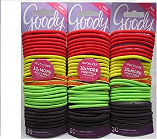 Goody Ouchless Elastic Hair Ties, Assorted Neon Attitude Colors (Pack of 3)