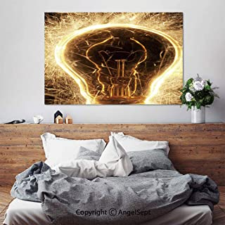 SfeatruAngel_SOSUNG Canvas Framed Wall Art,Bulb and Sparklers on Black Background Lights Everywhere(20