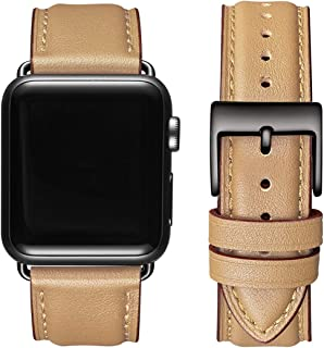 OMIU Square Bands Compatible for Apple Watch 38mm 40mm 42mm 44mm, Genuine Leather Replacement Band Compatible with Apple Watch Series 6/5/4/3/2/1, iWatch SE (Camel/Black Connector, 42mm 44mm)