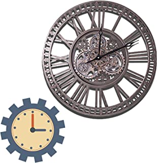 WOERD Horloge Murale Steampunk Geante avec Roues à Dents Mobiles, 60cm Horloge Murale Vintage Silencieux Horloge Pendule M...