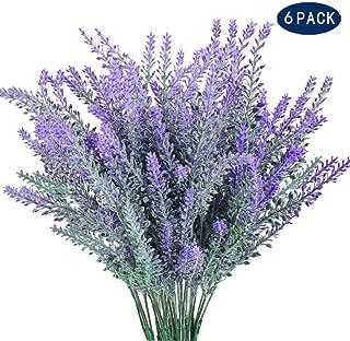 AILANDA 6 Pack Artificial Lavender Flower Plants Outdoor Fake Plastic Bouquets Farmhouse Floral Arrangements DIY for for Wedding, Home, Office, Garden, Patio Decoration