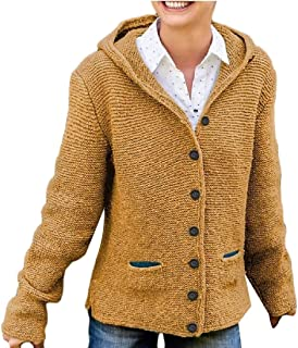 Women's Casual Knit Button Hoodies Cardigan Sweaters Outerwear with Pocket