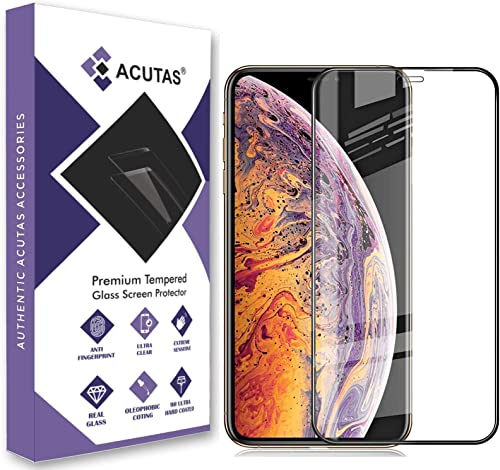 ACUTAS Premium Tempered Glass Compatible For Iphone XR Iphone 11 Black Edge To Edge Full Screen Coverage