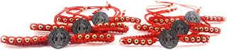 6 pcs Saint Benedict Red Bracelet with Silver Color Medal and Gold Color Stones 6 pzas Pulsera Roja De San Benito Con Medalla Color Plateado Piedras Color Dorado
