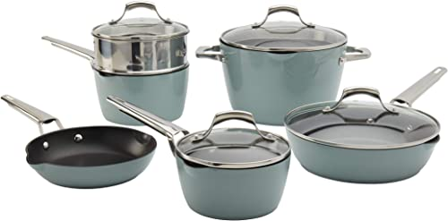 wholesale Denmark Tools for Cooks Alegra Cookware wholesale Collection- Dishwasher Safe Oven Safe popular Ultra-Durable, Alegra 10 Piece Cookware Set in Ocean Breeze outlet sale