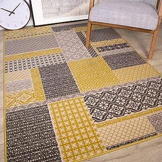 The Rug House Milan Color Ocre Amarillo Mostaza Gris Beige en Cuadros de Patchwork Tradicional Alfombra de salón 160cm x 230cm