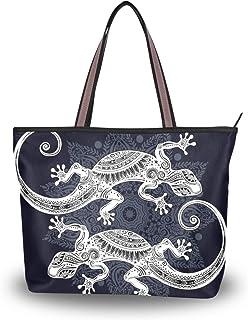 MyDaily Damen Tote Schultertasche Gecko Lizard Handtasche