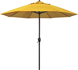 California Umbrella 9 Round Aluminum Market Umbrella, Crank Lift, Auto Tilt, Bronze