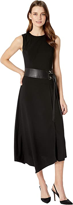 Lux Dress with Belt and Faux Leather