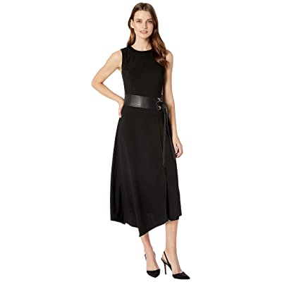 Calvin Klein Lux Dress with Belt and Faux Leather (Black) Women