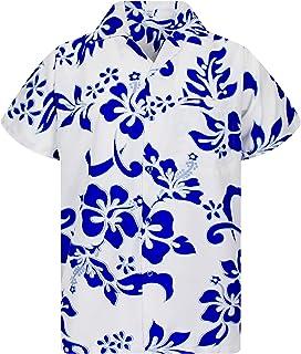 V.H.O Funky Hawaiian Shirt Men Shortsleeve Frontpocket Hawaiian-Print Hibiscus Party Flowers Turquoise on White