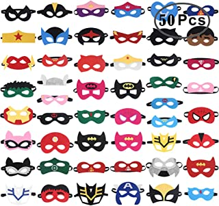 RoterSee 50Pcs Superhero Masks Party Favors for Birthday Party with 50 Different Types, Great Gift for Halloween Thanksgiving Day and Christmas