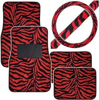 BDK Plush Safari 4 Pc Car Front and Rear Carpet Floor Mat Set & 1 Pc Safari Steering Wheel Cover - Zebra Red Pattern