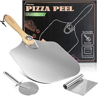 "Premium Pizza Peel + Pizza Cutter Wheel + Dough Scraper, 14"" x 12"" with Foldable Wood Handle for Easy Storage, Pizza Spatu..."