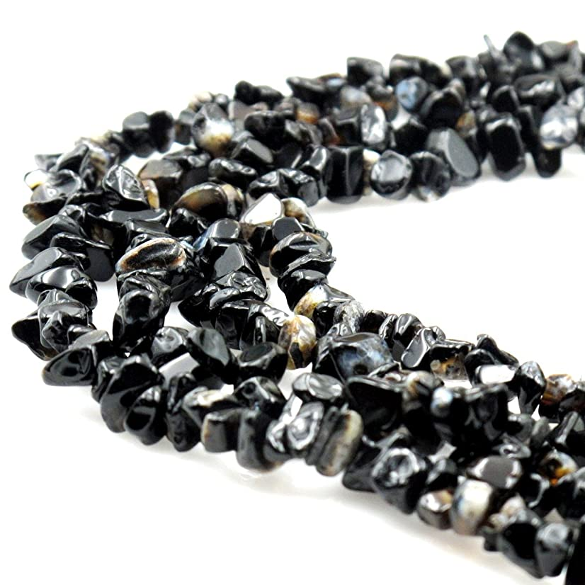 BRCbeads Nice Striped Black Agate Chips Beads 7~8mm 34 Inches per strand For Jewelery Making