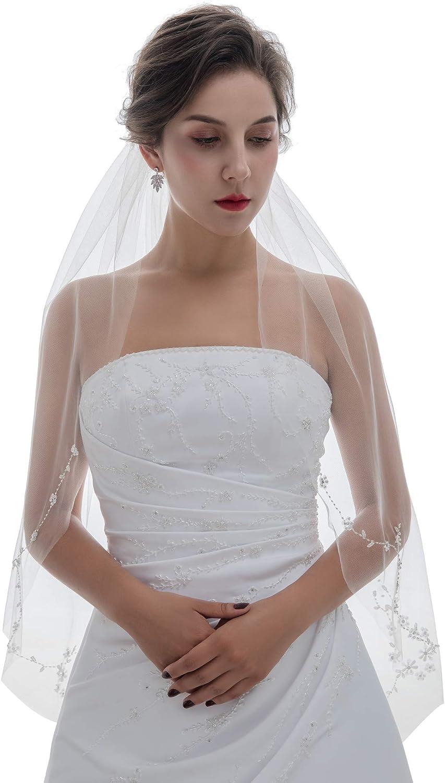 SAMKY 1T 1 Tier Offset Floral Vine Pearls Beaded Crystals Bridal Veil