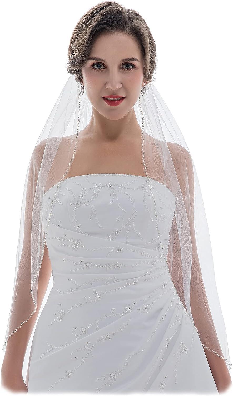 SAMKY 1T 1 Tier Wavy Crystal Beaded Bridal Wedding Veil